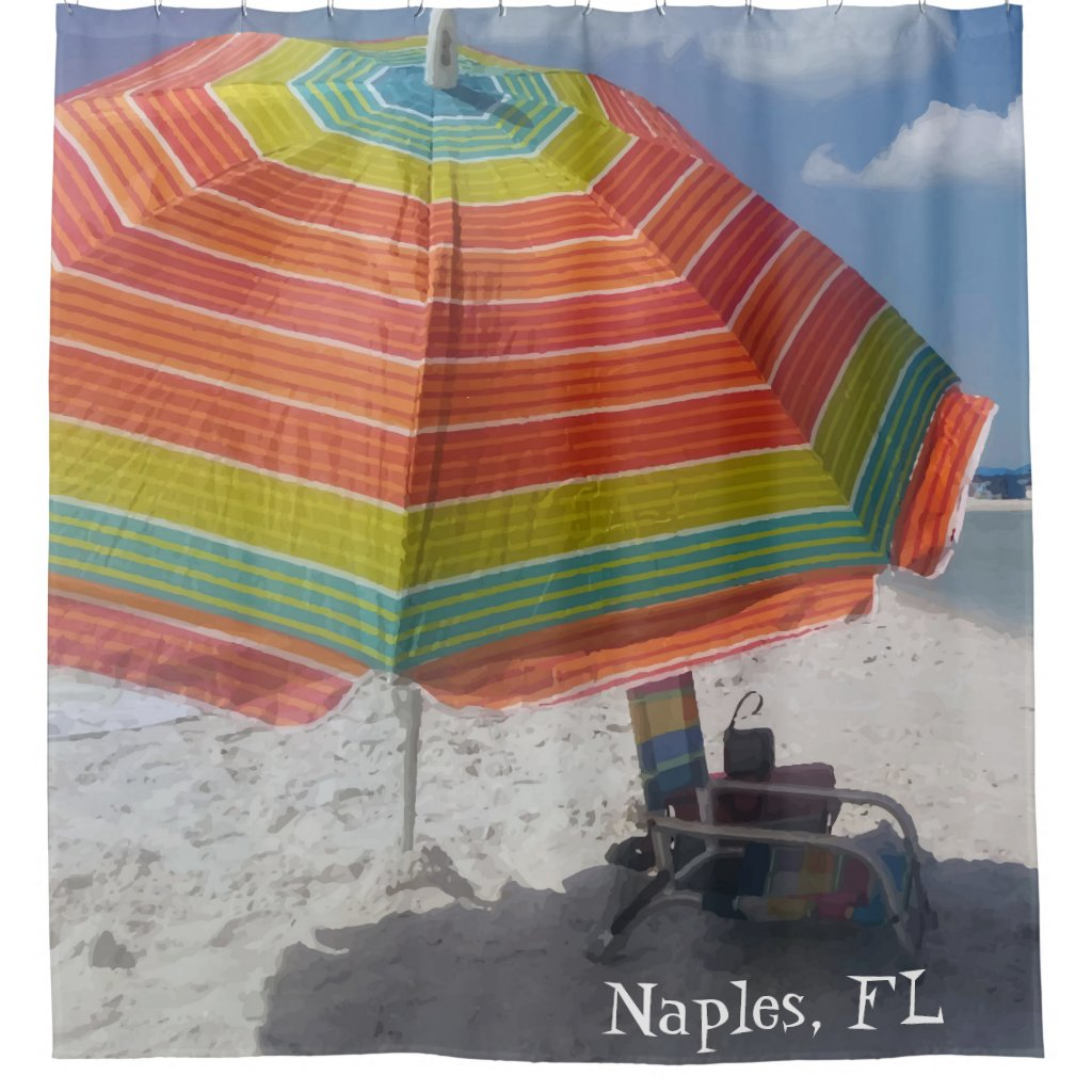 Naples, FL Colorful Beach Print Shower Curtain