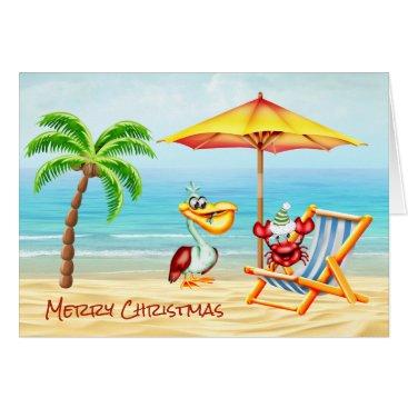 Beach Themed Fun Nautical Christmas Note Card