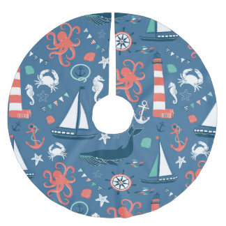 Fun Nautical Graphic Pattern Brushed Polyester Tree Skirt
