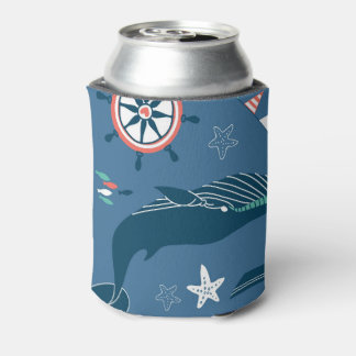 Fun Nautical Graphic Pattern Can Cooler