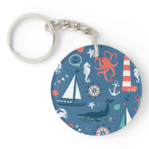 Fun Nautical Graphic Pattern Keychain