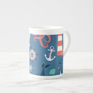 Fun Nautical Graphic Pattern Bone China Mug