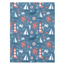 Fun Nautical Graphic Pattern Tablecloth