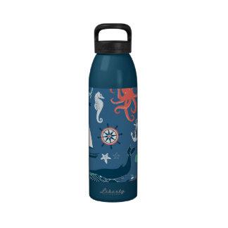 Fun Nautical Graphic Pattern Drinking Bottles