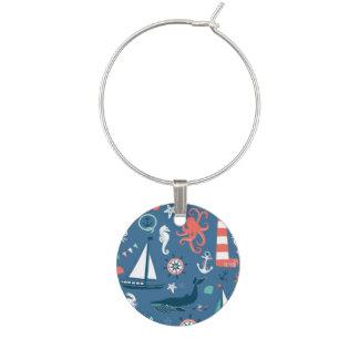 Fun Nautical Graphic Pattern Wine Glass Charm