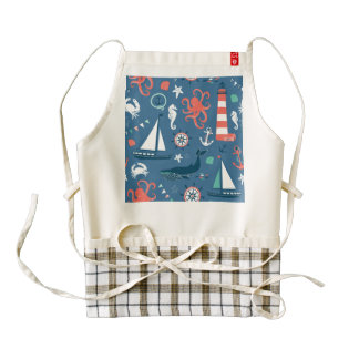 Fun Nautical Graphic Pattern Zazzle HEART Apron