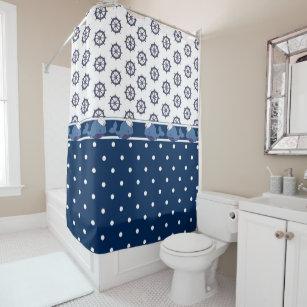 Fun Navy Blue Polka Dot Whale Nautical Shower Curtain