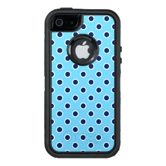 Fun Navy Polka Dots on Bright Blue OtterBox Defender iPhone Case