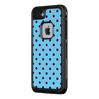 Fun Navy Polka Dots on Sky Blue LifeProof® FRĒ® iPhone 7 Case