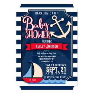Fun, Navy, Red, & White Nautical Baby Shower Card