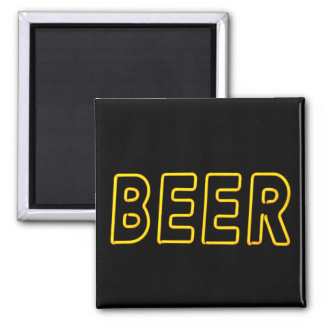 Fun Neon Beer Sign 2 Inch Square Magnet