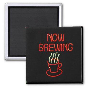 Coffee Themed Fun Neon Coffee Brewing Sign Magnet