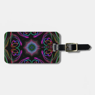 Fun Neon Colors Abstract Floral Pattern Luggage Tag