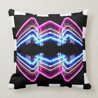 Fun Neon Dancehall Game Room Pop Art Decor Throw Pillow