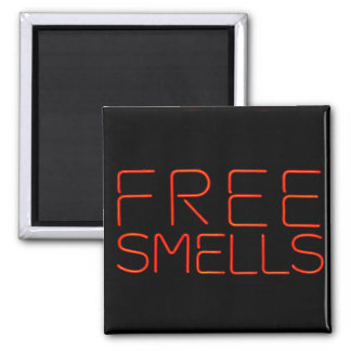 Fun Neon Free Smells 2 Inch Square Magnet