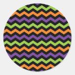 Fun Neon Green Orange Purple and Black Chevrons Round Sticker