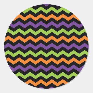 Fun Neon Green Orange Purple and Black Chevrons Classic Round Sticker