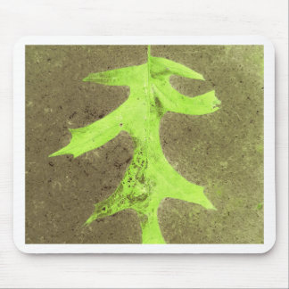 Fun Neon Lime Green Leaf Grunge Background Mouse Pad