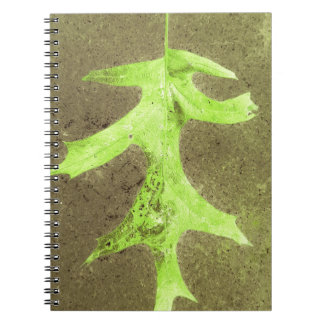 Fun Neon Lime Green Leaf Grunge Background Spiral Notebook