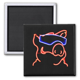 Fun Neon Pig in Shades 2 Inch Square Magnet