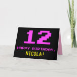 [ Thumbnail: Fun, Nerdy, Geeky, Pink, 8-Bit Style 12th Birthday Card ]