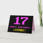 [ Thumbnail: Fun, Nerdy, Geeky, Pink, 8-Bit Style 17th Birthday Card ]