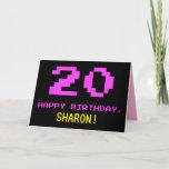 [ Thumbnail: Fun, Nerdy, Geeky, Pink, 8-Bit Style 20th Birthday Card ]