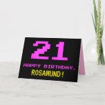 [ Thumbnail: Fun, Nerdy, Geeky, Pink, 8-Bit Style 21st Birthday Card ]