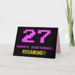 [ Thumbnail: Fun, Nerdy, Geeky, Pink, 8-Bit Style 27th Birthday Card ]