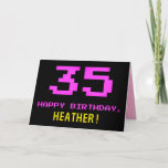 [ Thumbnail: Fun, Nerdy, Geeky, Pink, 8-Bit Style 35th Birthday Card ]