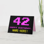 [ Thumbnail: Fun, Nerdy, Geeky, Pink, 8-Bit Style 42nd Birthday Card ]