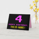 [ Thumbnail: Fun, Nerdy, Geeky, Pink, 8-Bit Style 4th Birthday Card ]