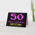 [ Thumbnail: Fun, Nerdy, Geeky, Pink, 8-Bit Style 50th Birthday Card ]