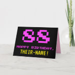 [ Thumbnail: Fun, Nerdy, Geeky, Pink, 8-Bit Style 88th Birthday Card ]