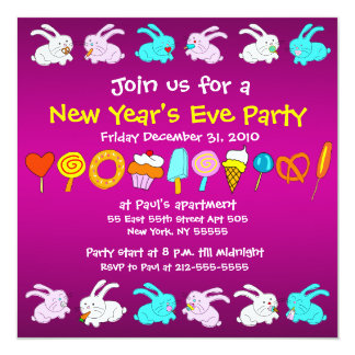 """Fun New Year Eve Party Invitation Year Of The Rabb 5.25"""" Square Invitation Card"""