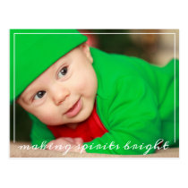Fun Newborn First Christmas Baby Photo Postcard