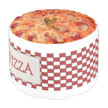 Fun Novelty Pizza And Pizza Box Round Pouf