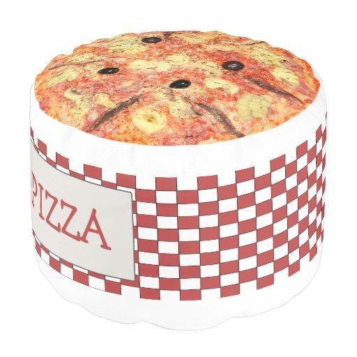fun novelty pizza and pizza box round pouf zazzle. Black Bedroom Furniture Sets. Home Design Ideas