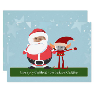 Fun Novelty Santa And Elf Christmas Personalized Card