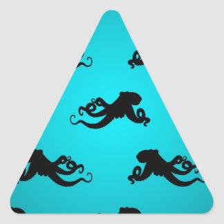 Fun Octopus Pattern on Bright Turquoise Triangle Sticker