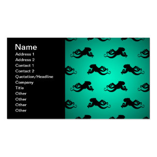 Fun Octopus Silhouettes on Green Business Card