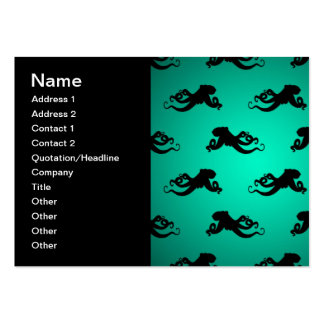 Fun Octopus Silhouettes on Green Large Business Card