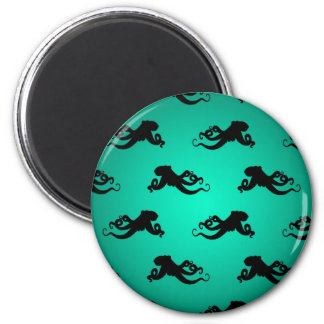 Fun Octopus Silhouettes on Green Magnet