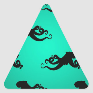 Fun Octopus Silhouettes on Green Triangle Sticker