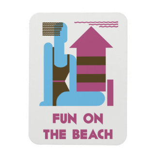 Fun on the beach modern art deco jazz ego magnet