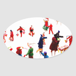 Fun on the ice, Chinese stilt dancing Oval Sticker