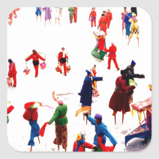 Fun on the ice, Chinese stilt dancing Square Sticker