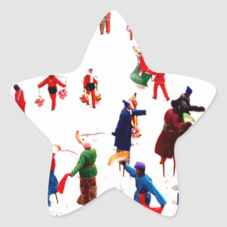 Fun on the ice, Chinese stilt dancing Star Sticker
