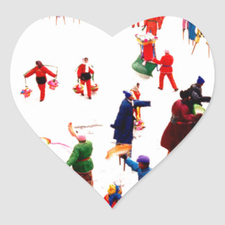 Fun on the ice, Chinese stilt dancing Heart Stickers