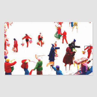 Fun on the ice, Chinese stilt dancing Rectangle Stickers